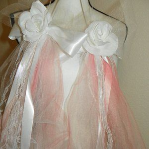 5 White Flower Lace Pink Wedding Pew Party Decor